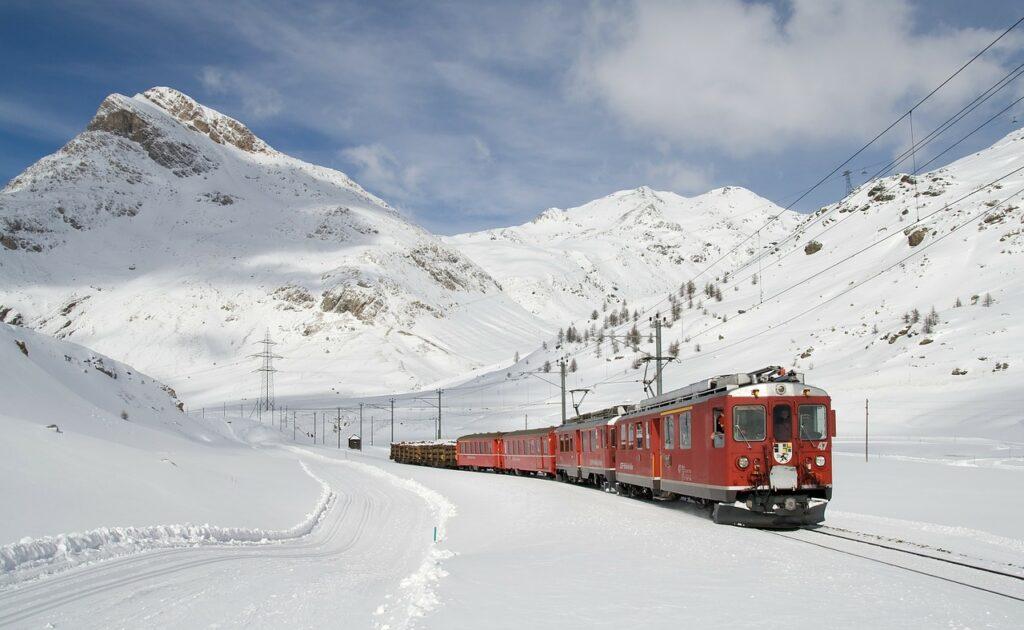 train, railway, snow